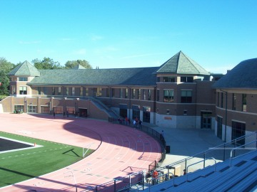 View from the stands looking towards the south endzone and The W (Wartburg-Waverly Wellness Center)