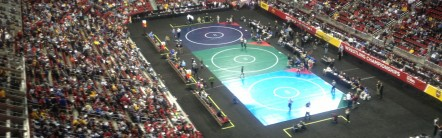 The 2013 NCAA Wrestling Championships at Wells Fargo Arena . Hosting this proved that Des Moines was ready to host any major sporting event.