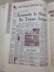 The evening headline in the Des Moines Tribune from November 22, 1963.