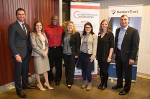YP of the Year Award finalists (from left) Josh Dryer, Andrea Woodard, LaVerne Greenfield, Megan Ruble, Brianne Sanchez, Emilee Richardson, and Tyler DeHaan, Thursday, Jan. 8, 2015, at the YPC 2015 Kick Off event at Jasper Winery in Des Moines. (Juice)
