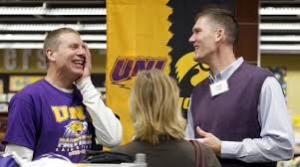 Jason Reese (left) and Nick Pace joking around during a 2012 reunion of the '89-90 UNI team on campus. (Courier archives)