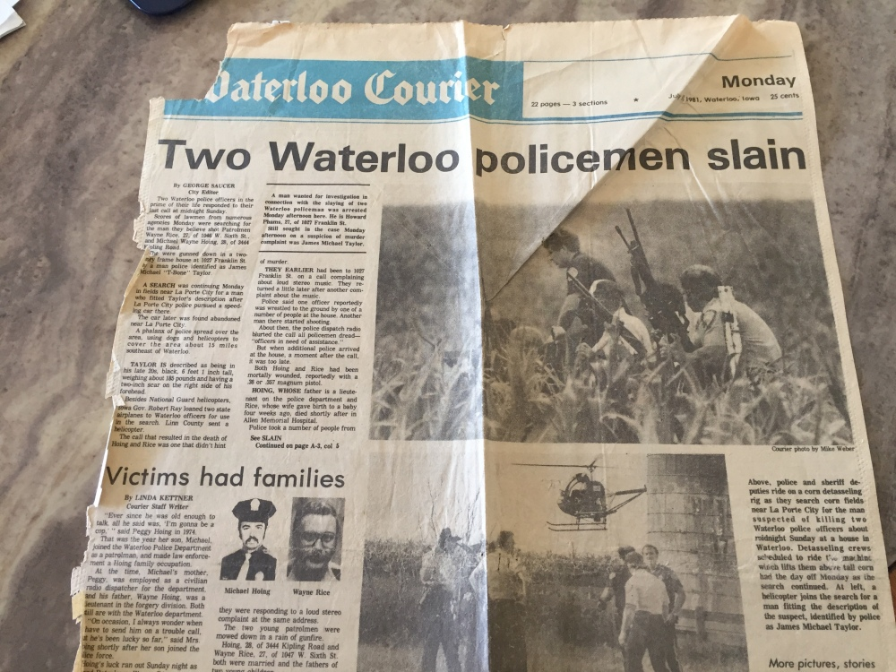 Waterloo Courier headline July 13, 1981