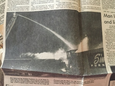 Another picture of the Simpson's Furniture fire in the early morning hours of January 11, 1983 (Waterloo Courier archive)